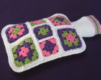 Granny Square Hot Water Bottle Cover Cosy Crochet PATTERN PDF