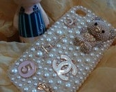 Pearl Rhinestones Charms Lovely Bear Bling Shining Handmade Phone Case For Samsung Mesmerize i500/Verizon Fascinate Galaxy S