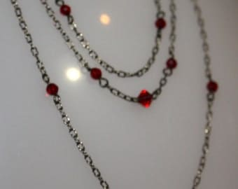 Four strand chain necklace with Red Beads