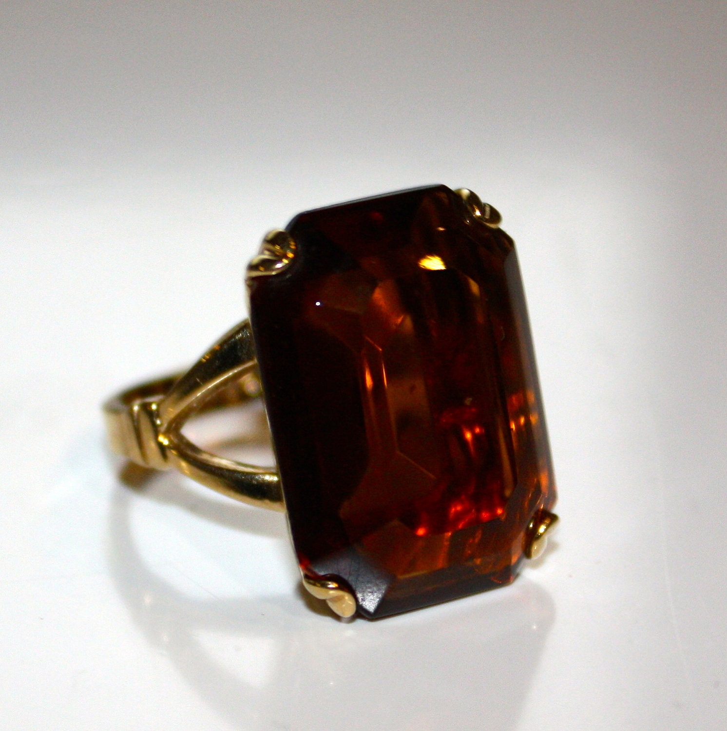 Avon Imperial Topaz Colored Gemstone Ring Size 5