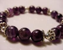 Amethyst Bracelet, Calming Stone for Prosperity  Abundance. 3rd Eye Chakra, Healing Jewelry, Reiki Jewelry, Charka Jewelry