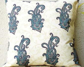Block Print Pillow Covers - Blue Paisleys Hand Printed on Cream Background - 20 x 20 - 1 pair - ct5c