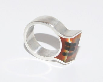 Ring Silver with Brown Resin and Rubber - R128