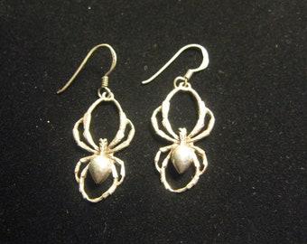 Vintage Sterling Silver Spider Earrings