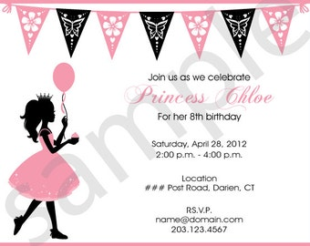 PRINTED Pink & Black Silhouette Princess Birthday Invitation