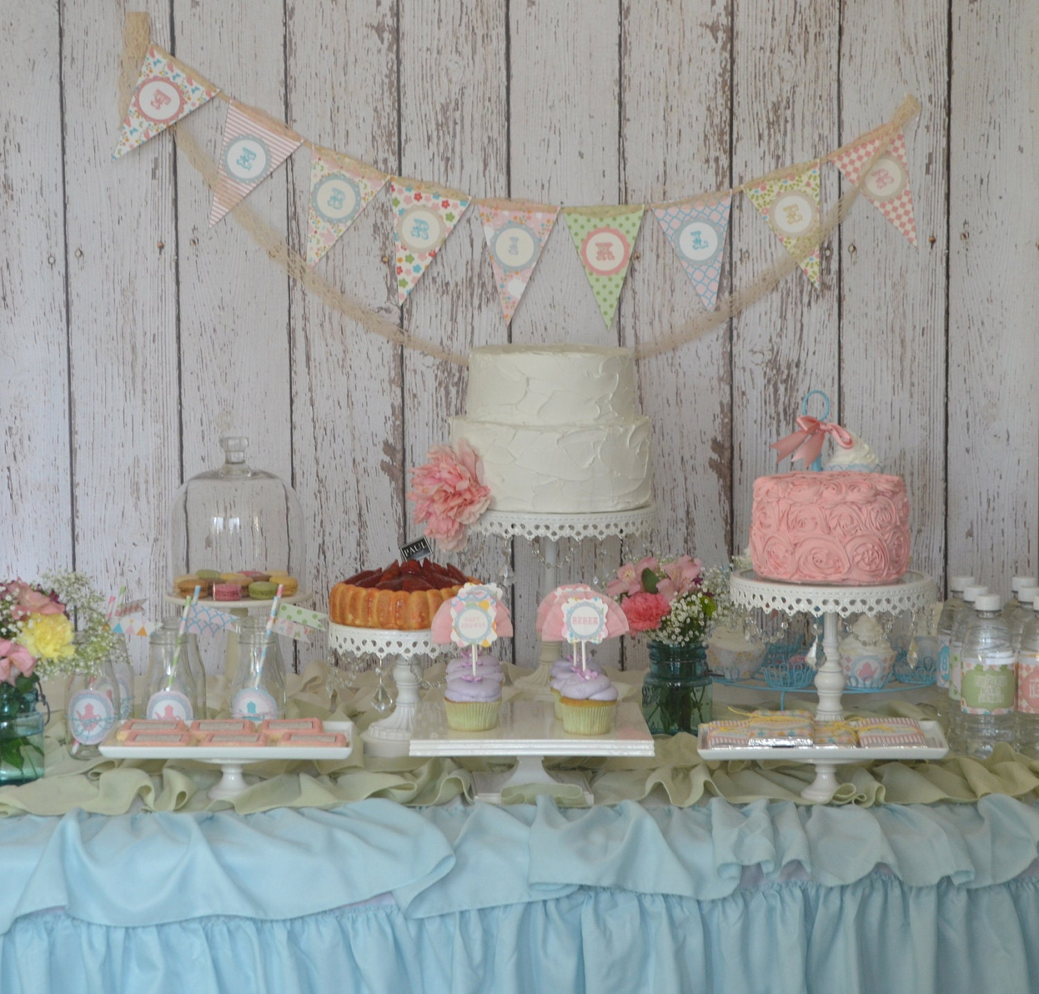 Shabby ChicPersonalized Aqua And PinkGarden By