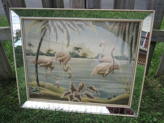 Vintage 1940 S Turner Pink Egret Flamingo Print With