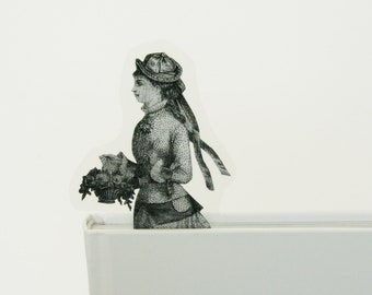 Bookmark young lady with the flower basket, image from old Italian newspaper dated 1880
