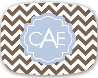 personalized melamine platter - monogram chevron