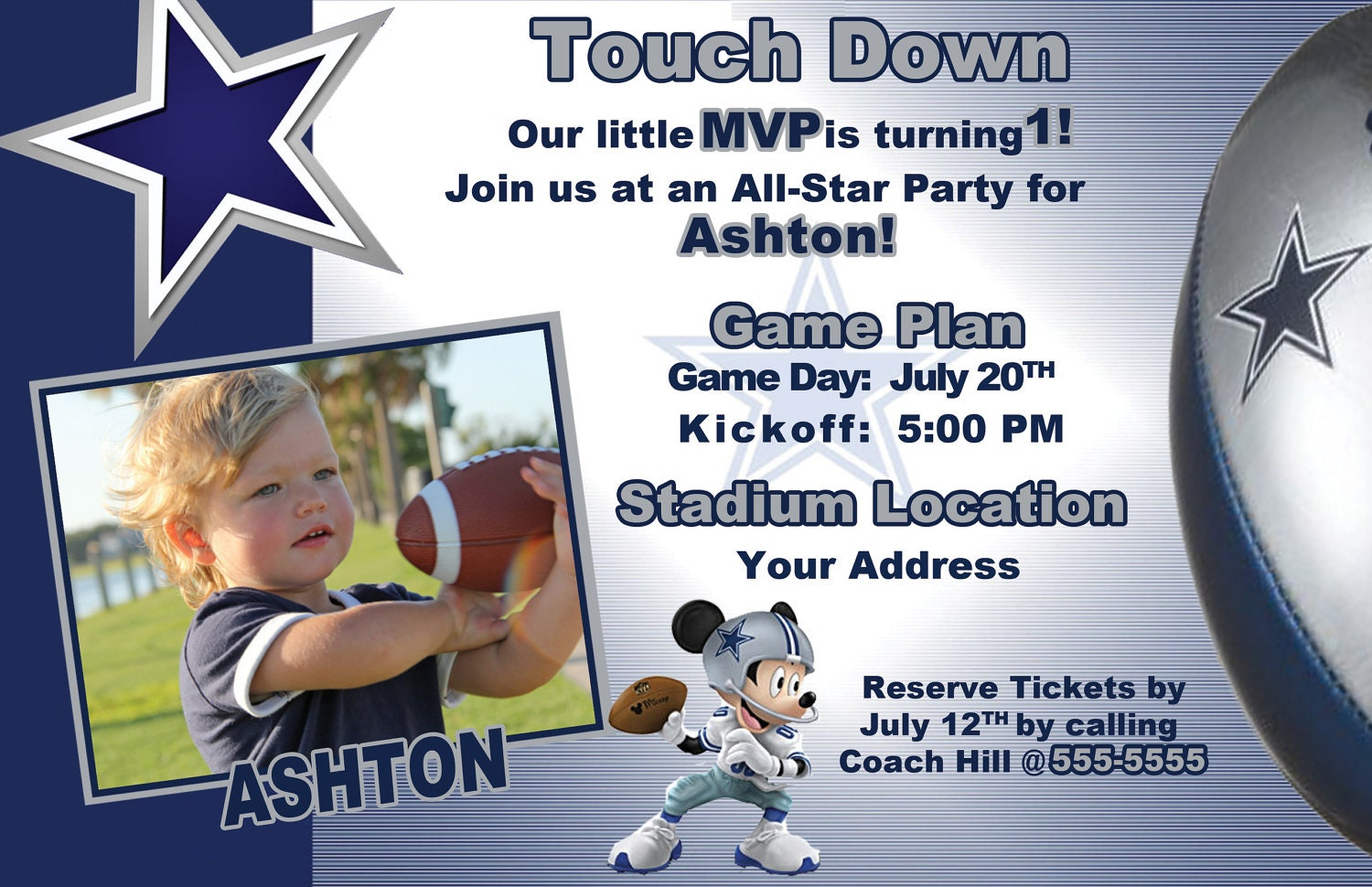 dallas cowboys mickey mouse invite by leslisdesigns on etsy, Baby shower