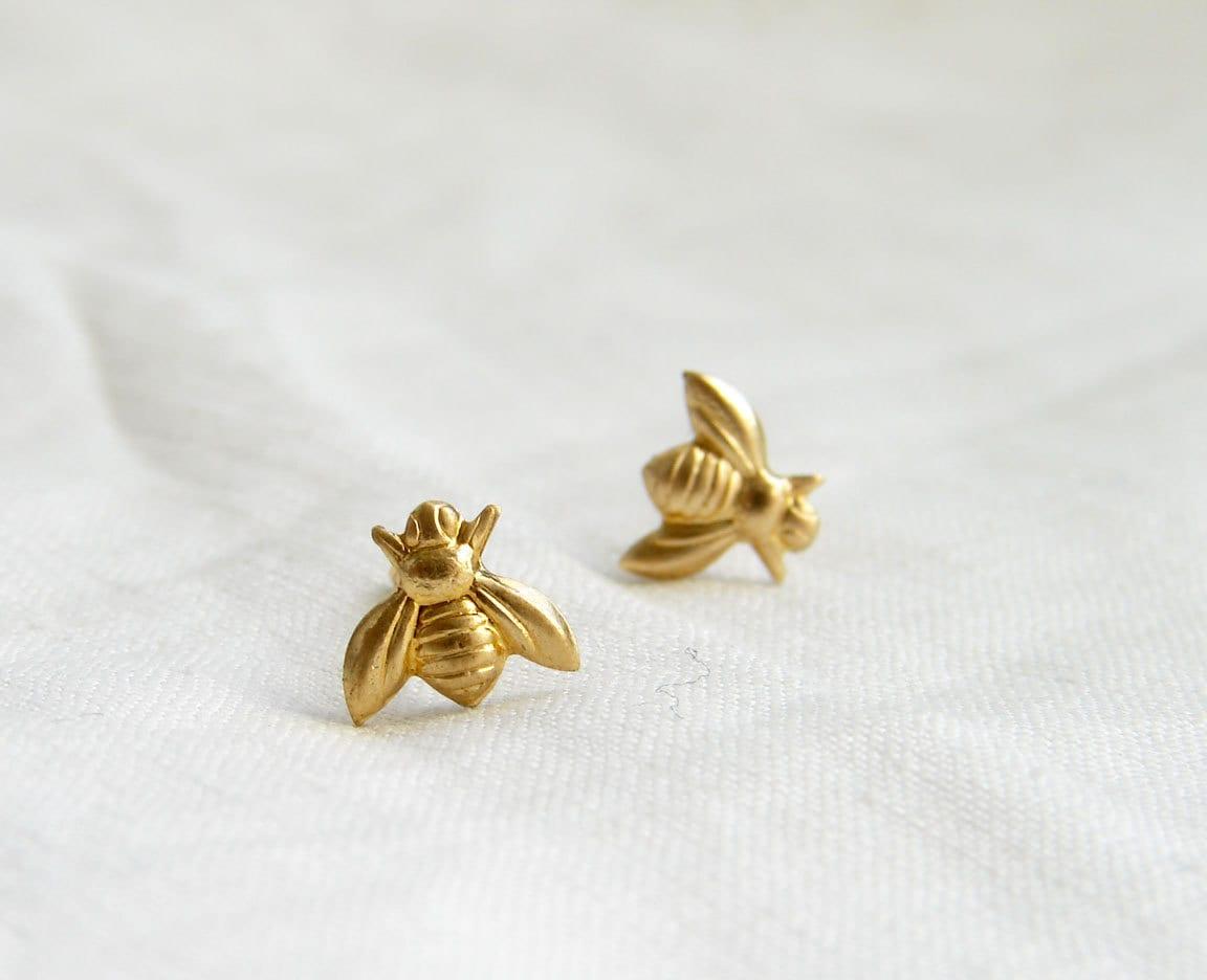 teeny tiny gold bee earrings bee stud earrings simple modern