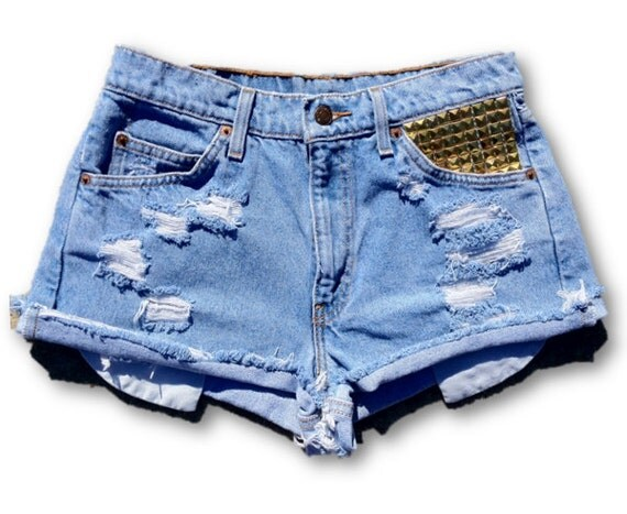 Studded Vintage Distressed High Waisted Cut Off Jean Shorts