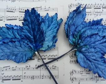 "2 doz Royal Blue flocked velvet 3.5"" millinery leaves /  crafting, altered art, brooches / vintage"