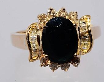 2.70ctw Natural Sapphire & Diamond Ring Size 6