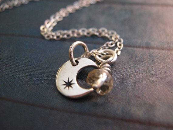 Crescent Moon Necklace, Moon Necklace, Sterling Silver Moon Necklace with Birthstone, Moon and Star