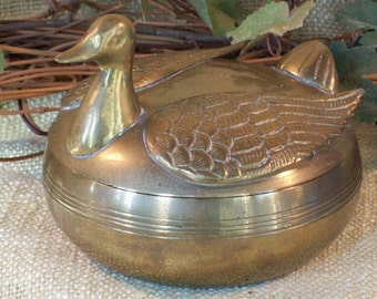 Vintage Solid Brass Swan/Duck Keepsake Dish