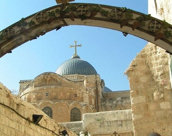 EASTER GIFT, handmade,  photograph on canvas of the Church of the Holy Sepulchre, Jerusalem,