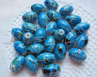 15  Deep Sky Blue & White Drizzled Oval Acrylic Beads  13mm x 9mm