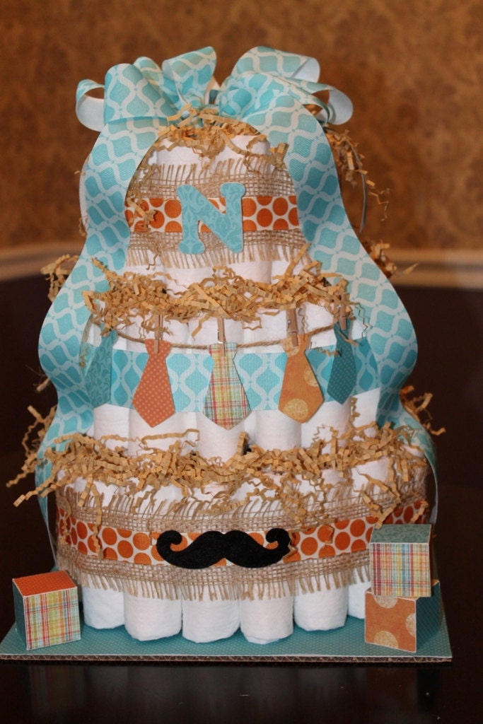 Mustache And Bow Ties 3 Tier Diaper Cake