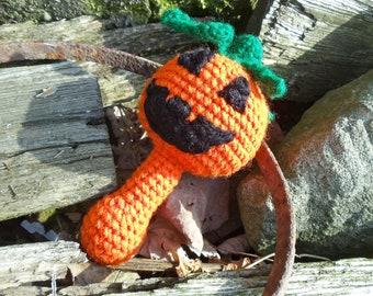 Crocheted Pumpkin Baby Rattle