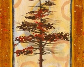 Gustav Pine With Yellow is 5x7 hand signed blank note card.