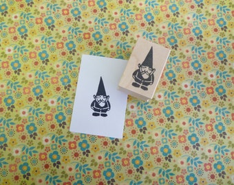 garden gnome wood mounted rubber stamp KP5029C