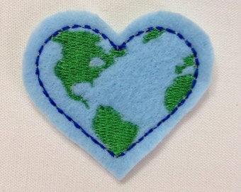 Love Earth Heart Embroidery Design Feltie