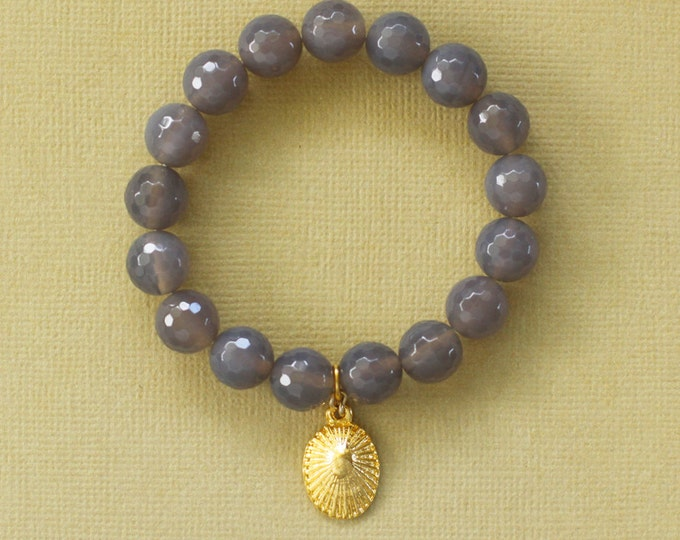 Stackable Gemstone Stretch Bracelet - Semi Precious Faceted Smokey Lavender Grey Agate