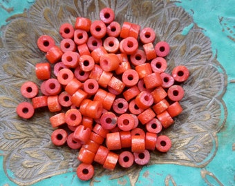 100 x Small Red Beads, Charms, Jewelery Making