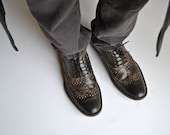Leather Lace-up Mens Brogues Handmade_ M DESIGN