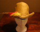 Vintage Felt Hat with Feather - 7-8 inches size , Feather Hat, Pimp Hat