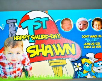 Smurfs Birthday Invitation
