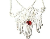 SALE! Wedding white sequin eco-necklace OLIVIA - White sequin lace applique with scarlett red heart Swarovski crystal - OOAK - Eco-Friendly