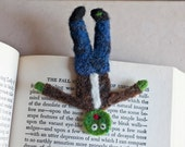 Squished Zombie Bookmark, Needle Felted Bookmark, Comical Gift for Bookworms