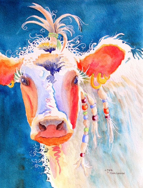 Reserved for tallycow art print of original watercolor for Cow painting print
