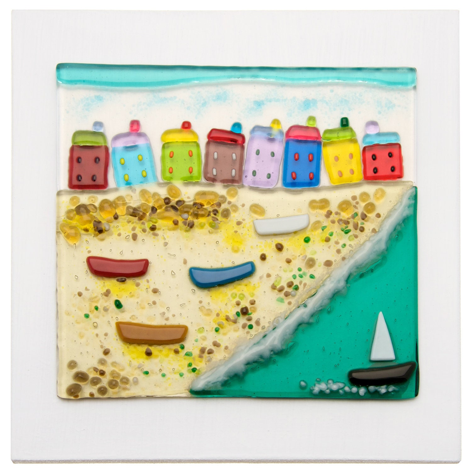Colourful Fused Glass Beach Scene 20cmx20cm