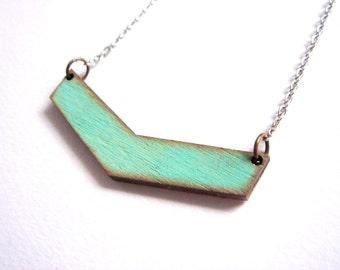 Chevron Necklace, Wood Geometric Necklace,Wood Mint Necklace,Geometric Jewelry