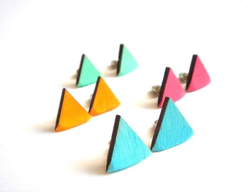 Neon Geometric  Earrings ,Laser Cut Wood Triangles Earrings,Geometric Jewelry