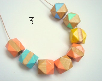 Pastel Geometric Necklace , hand painted Natural Wood  Necklace,Geometric Jewelry