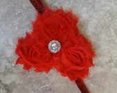 Red 3 Flower Shabby Chic Holiday/Christmas Glitter Headband With Accent- Newborn, Infant, Toddlers and Adults