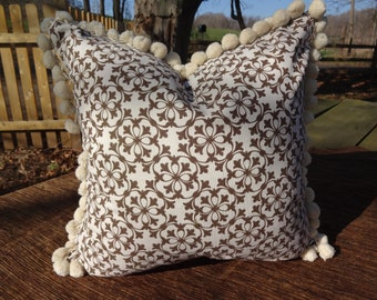 SALE 18x18  Ivory Cotton with Brown Screen Printed Design With Pom Pom Trim Pillow Cover