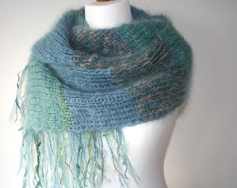 Knitted scarf, Mohair scarf, Luxury Mohair, Dusky Blue, Hand dyed Silk Ribbons