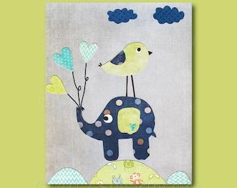 Blue and green Nursery Art Print - 11x14 - Kids Room Decor, Baby / Children Wall Art - Elephant, Love Bird - Grey, Green, Navy, Turquoise