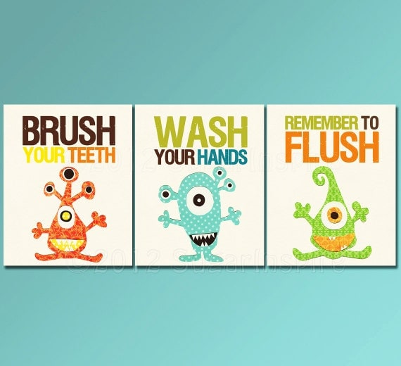 Monster bathroom Nursery Art Print Set 8x10 Kids by SugarInspire