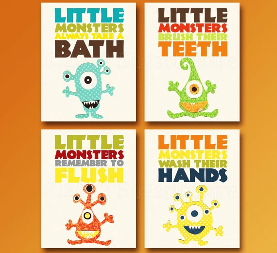 Monsters Bathroom Art Print Set Set Of Four 5x7 Kids Room