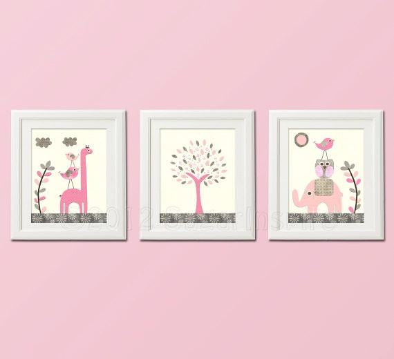 Pink and grey nursery art print set kids room decor for Pink and grey kids room