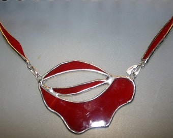 red stained glass necklace.