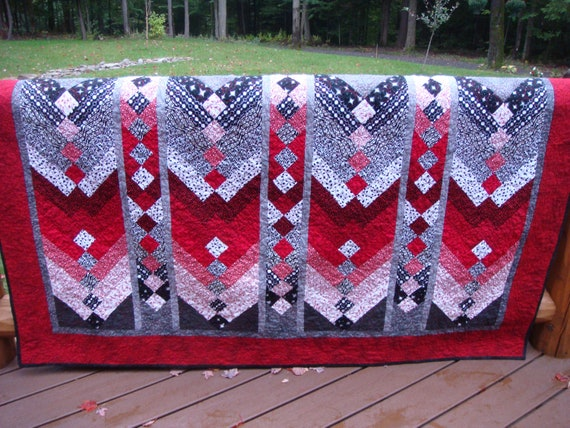 Bold Red White Black And Shades Of Gray Quilt