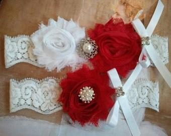 Bridal Garter, Wedding Garter and Toss Garter Set - White/Red Flowers with Pearl &  Rhinestone - Style G226