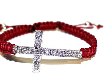 Sideways Cross, Custom Bracelet, Celebrity Bracelets, Crystal Sidesways Cross, Sideways Cross Bracelet